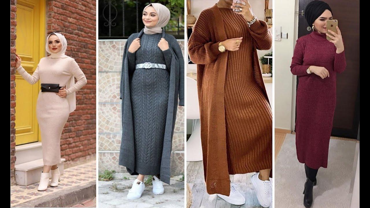 فساتين شتوية للمحجبات 2020 موديلات حديثة بغاية الاناقة ❤ لخريف و شتاء  Hijab dress 2020  YouTube
